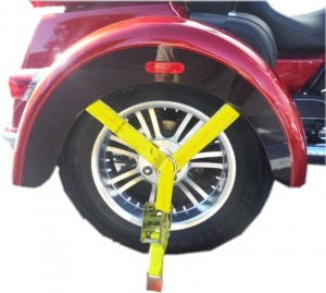Rear wheel tie down Trike