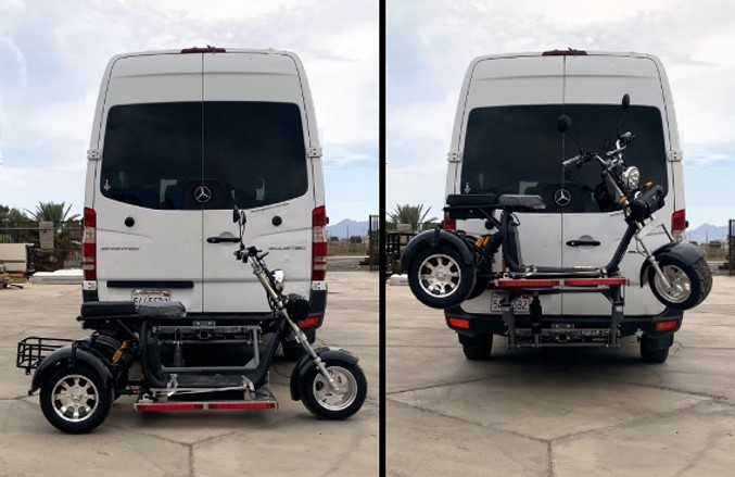 Electric Trike carrier Lift by Hydralift on Sprinter Van